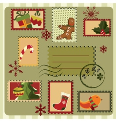 christmas card with stamps vector image