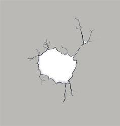 Crack concrete hole vector