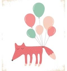 Cute fox with balloons vector
