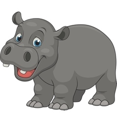 Cute funny hippo vector image vector image