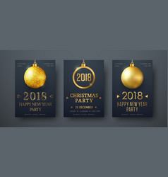 design of black posters with golden christmas vector image vector image