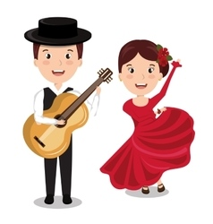 Flamenco musician with dancer isolated icon vector