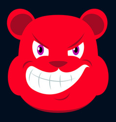 Flat icon on theme evil animal angry bear vector