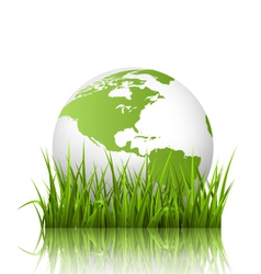 Green planet icon with globe and grass on white vector image