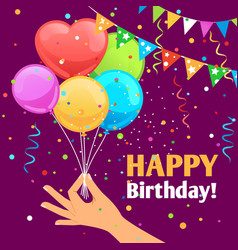 happy birthday kids fun poster vector image vector image