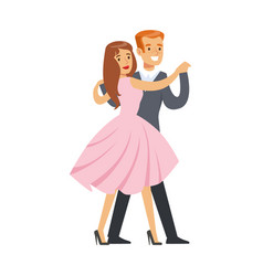 happy couple dancing waltz colorful character vector image