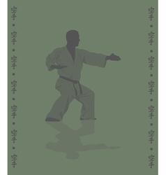Hieroglyph of karate and man demonstrating karate vector