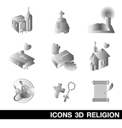 Icon Set religion 3D vector image