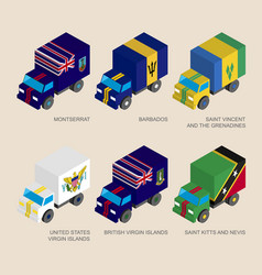 Isometric 3d cargo trucks with vector