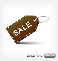 Leather sale tag with metal loop vector
