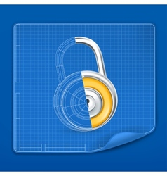 Lock drawing blueprint vector image vector image