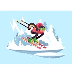 Man skiing in winter vector image vector image