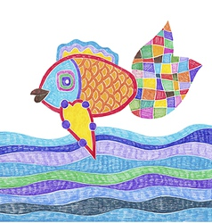 marker hand drawing of fish and water vector image