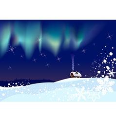 Northern lights at christmas vector