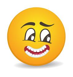 Pensive 3d round yellow smiley face icon vector