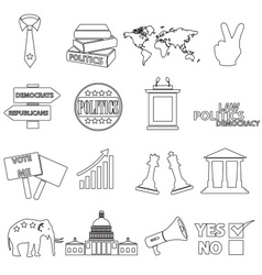 Politics black simple outline icons set eps10 vector