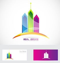Real estate buildings colors logo vector