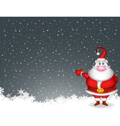 santa claus with snow background vector image vector image