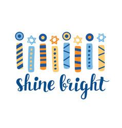 shine bright hanukkah greeting card vector image
