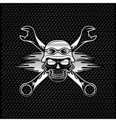 Silver skull in helmet and wrenches with flames vector