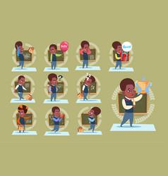 small african american school boy standing over vector image
