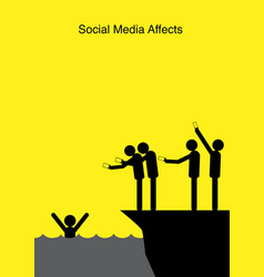 social media affects vector image