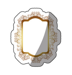 Sticker golden oval rectangle heraldic baroque vector