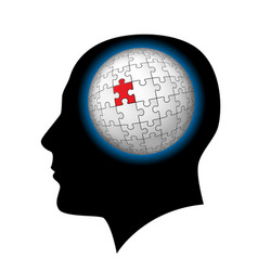 The man with puzzle sphere in the head on white vector