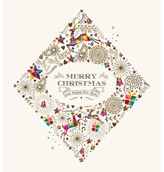 Vintage Christmas diamond greeting card vector image