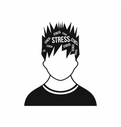 Word stress in the head of man icon simple style vector image vector image