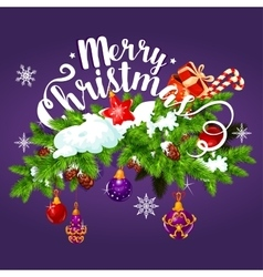 Christmas garland with gift greeting card design vector