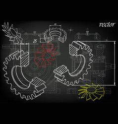 Machine-building drawings on a black background vector
