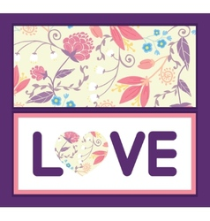 Fresh field flowers and leaves love text vector
