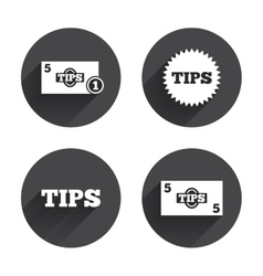 Tips icons cash with coin money symbol vector