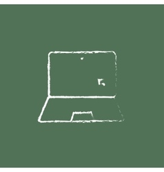 Laptop and cursor icon drawn in chalk vector