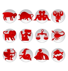 Red zodiac signs vector