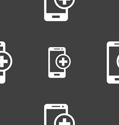Mobile devices sign icon with symbol plus seamless vector