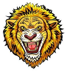 Cartoon head angry lion mascot vector image