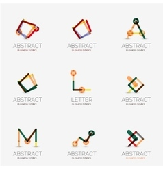 Set of linear abstract geometrical icons and logos vector