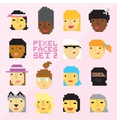Pixel art style 15 cartoon faces set 2 vector image