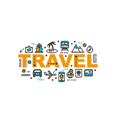 Travel and vacation thin line flat style banner vector