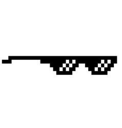 black thug life meme like glasses in pixel art vector image vector image