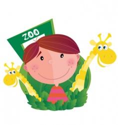 boy at zoo vector image vector image