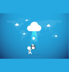 Businessman send floppy disk to the cloud backup vector