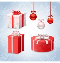 Christmas Balls And Gift Boxes vector image