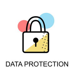 Closed lock icon for data protection flat design vector