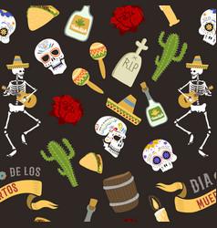 dia de los muertos day of the dead seamless vector image vector image