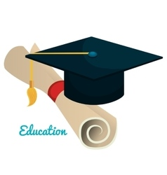 Education cap graduation graphic isolated vector
