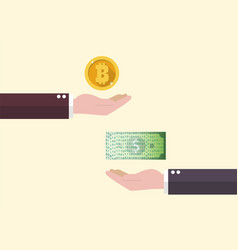 exchange between bitcoin and cash money vector image
