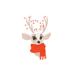 flat christmas reindeer in red scarf head vector image